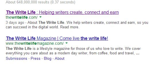 Image: The Write Life hits the top of Google