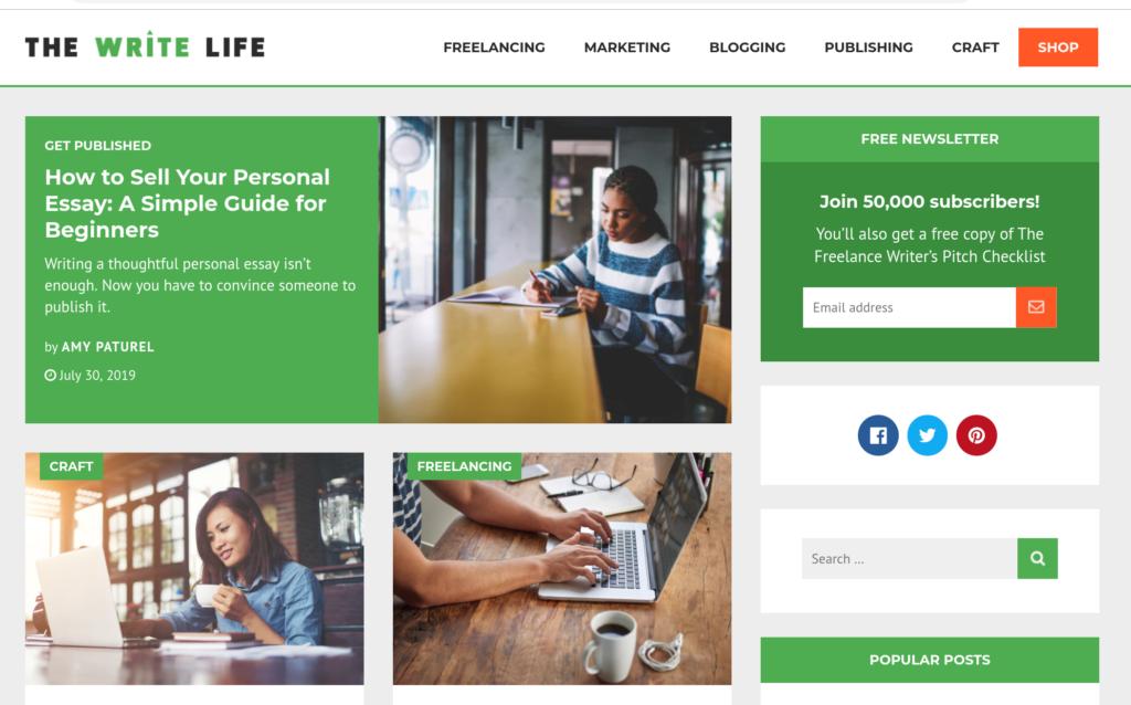 Screenshot of The Write Life homepage