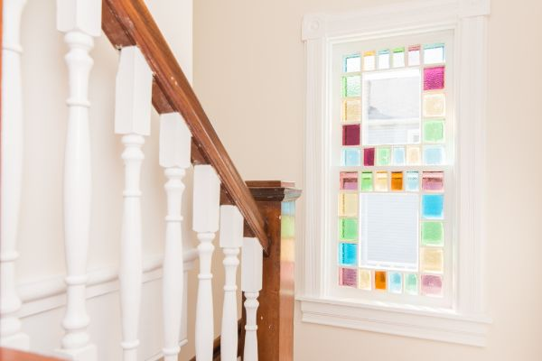 Stained glass window in historic home