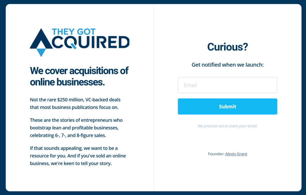 Screenshot of They Got Acquired