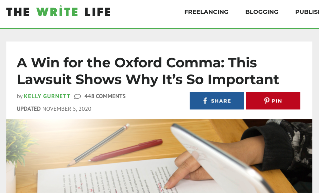 Screenshot of The Write Life shows Oxford Comma story