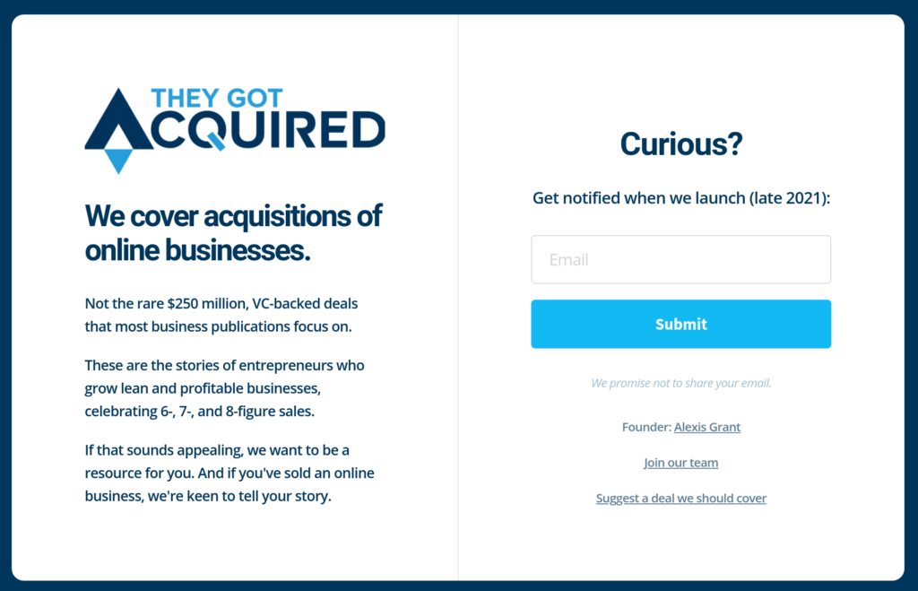 Landing page for They Got Acquired